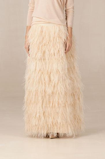Falda larga de plumas de Massimo Duti