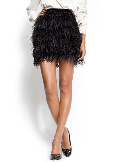 Falda de plumas negro de Mango
