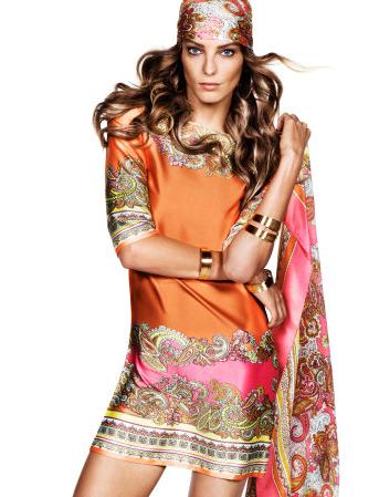 Vestido print pañuelo H&M